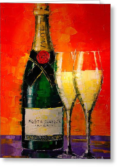 Champagne Glasses Greeting Cards - Moet Et Chandon Ii Greeting Card by Mona Edulesco