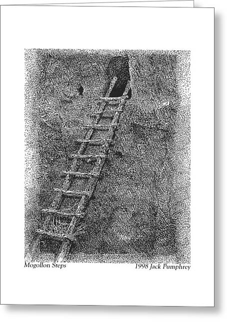 Period Drawings Greeting Cards - Mogollon Steps Greeting Card by Jack Pumphrey