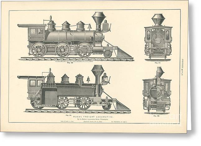Mogul Freight Locomotive Fig. 49-52 Greeting Card by MMG Archive Prints