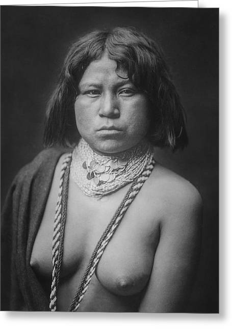 Indigenous Greeting Cards - Mohave Woman circa 1903 Greeting Card by Aged Pixel