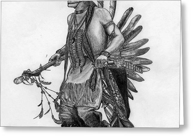 Mohawk Dancer Greeting Card by Lew Davis