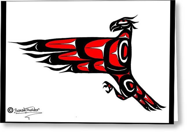 Speakthunder Berry Greeting Cards - Mohawk Eagle Red Greeting Card by Speakthunder Berry