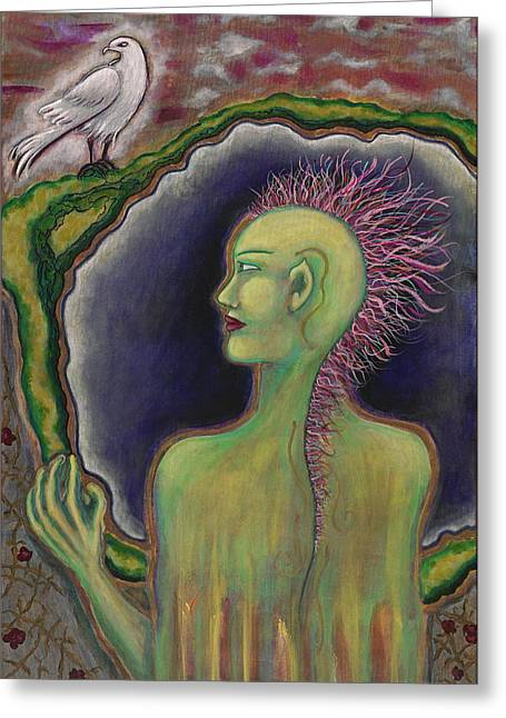 Merging Paintings Greeting Cards - Mohawk Warrior Woman Greeting Card by Annette Wagner