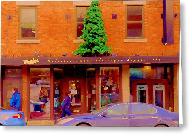 City Art Greeting Cards - Moishes On The Main At Christmas Time Montreal Restaurant Winter City Scene Art Carole Spandau Greeting Card by Carole Spandau