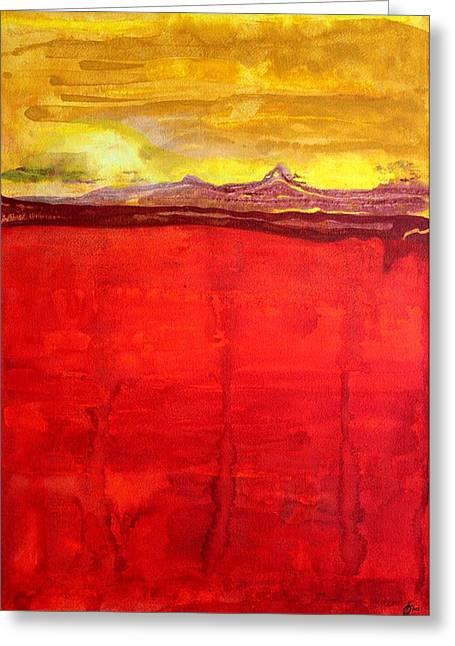 Printmaking Greeting Cards - Mojave Dawn original painting Greeting Card by Sol Luckman