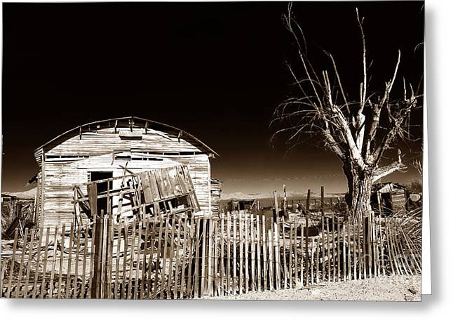 Abandoned School House. Greeting Cards - Mojave House Greeting Card by John Rizzuto