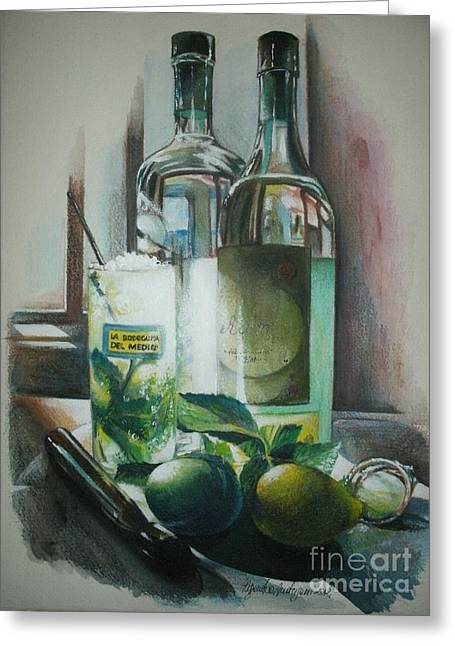 Painted Recipes Greeting Cards - Mojito Greeting Card by Alessandra Andrisani