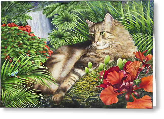Puss Greeting Cards - Mojos Domain Greeting Card by Carolyn Steele