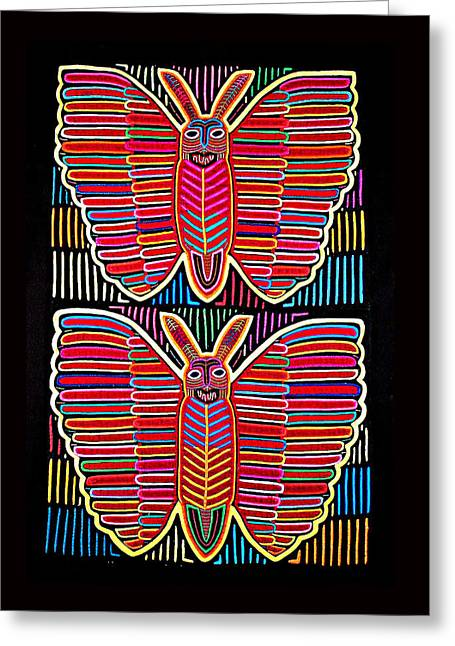 Reverse Art Greeting Cards - MOLA Butterflies Greeting Card by Sherry Thorup