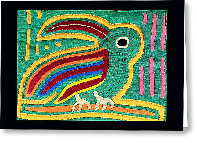 Mola Toucan Greeting Card by Sherry Thorup