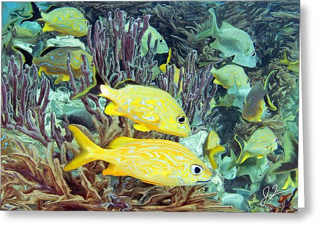 Grunts Greeting Cards - Molasses Reef Reinterpreted Greeting Card by Joe Quinn