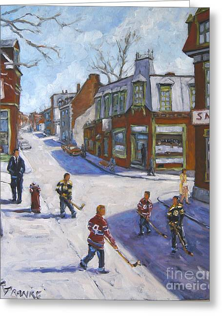 Hockey In Montreal Paintings Greeting Cards - Molasses Town Hockey Rivals in the Streets of Montreal by Pranke Greeting Card by Richard T Pranke