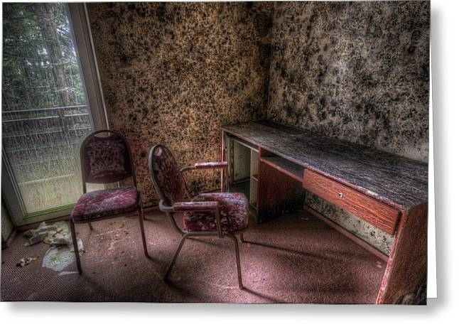Empty Chairs Digital Greeting Cards - Mold desk  Greeting Card by Nathan Wright