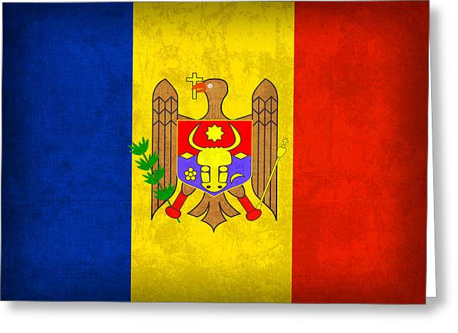 National Mixed Media Greeting Cards - Moldova Flag Vintage Distressed Finish Greeting Card by Design Turnpike