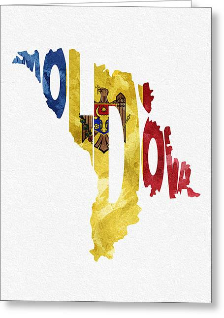 Europe Mixed Media Greeting Cards - Moldova Typographic Map Flag Greeting Card by Ayse Deniz
