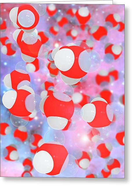 Molecular Structure Of Water Greeting Card by Ramon Andrade 3dciencia