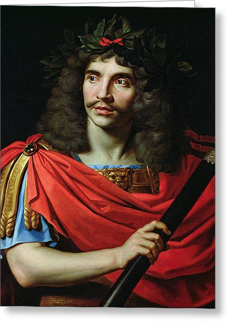 Character Portraits Greeting Cards - Moliere In The Role Of Caesar In The Death Of Pompey Oil On Canvas Greeting Card by Nicolas Mignard