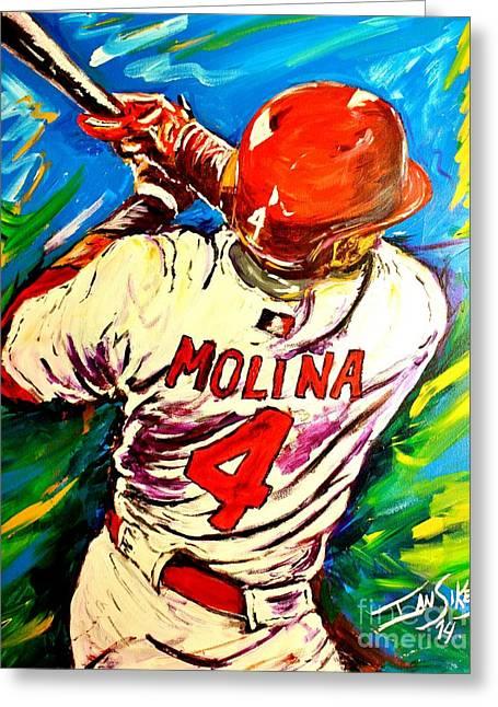 Molina At Bat Greeting Card by Ian Sikes