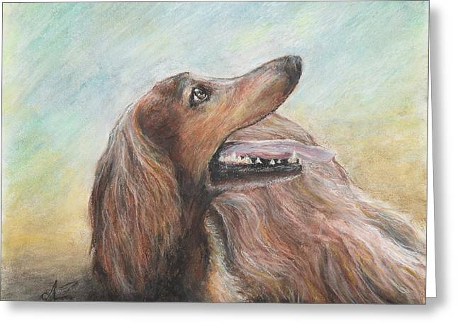 Mahogany Red Greeting Cards - Molly Greeting Card by Arthur Fix