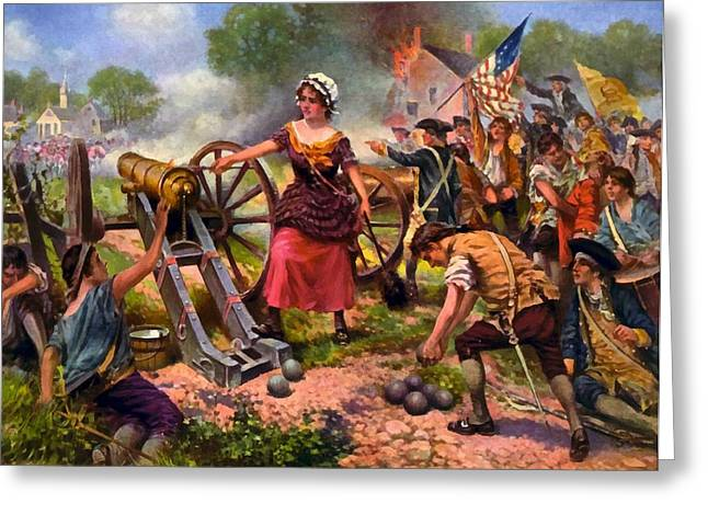 Molly Greeting Cards - Molly Pitcher Firing Cannon at Battle of Monmouth Greeting Card by Percy Moran