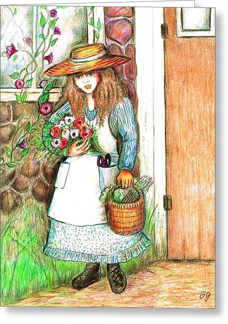Stone House Mixed Media Greeting Cards - Molly Working In Her Garden Greeting Card by Barbara LeMaster