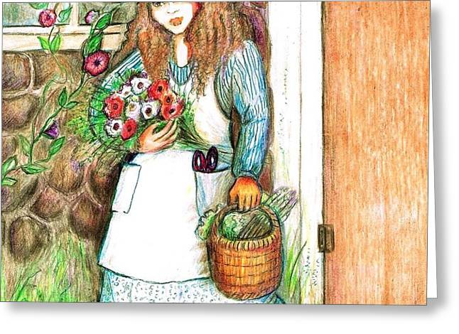 Molly Working In Her Garden Greeting Card by Barbara LeMaster