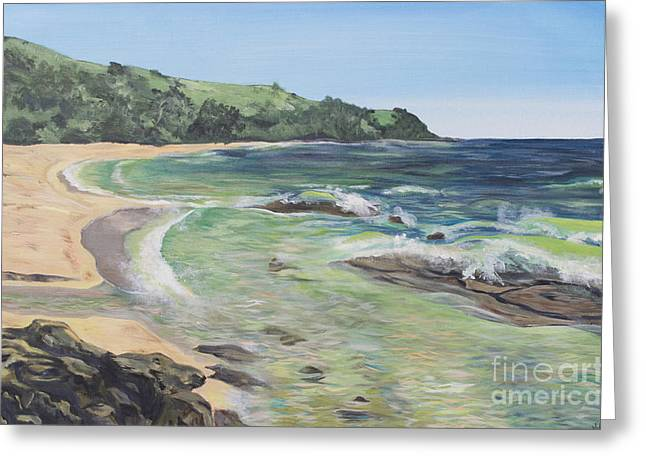 Blue Green Wave Greeting Cards - Moloaa Bay in Kauai Greeting Card by Jordan Parker