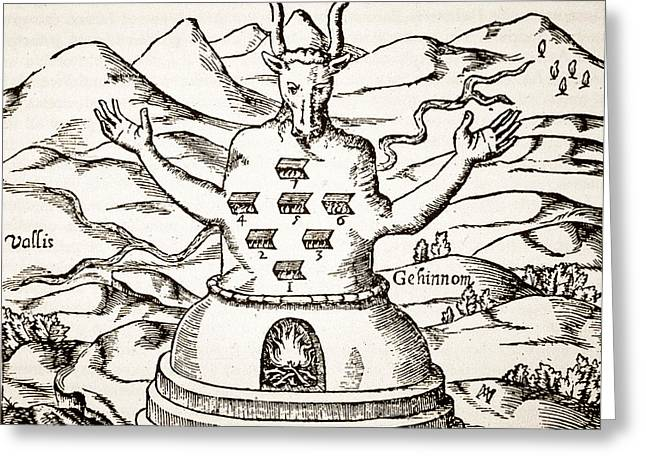 Human Spirit Drawings Greeting Cards - Moloch Greeting Card by Italian School
