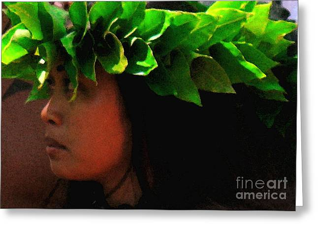 Jim Temple Greeting Cards - Molokai Wahine Dancer Greeting Card by James Temple