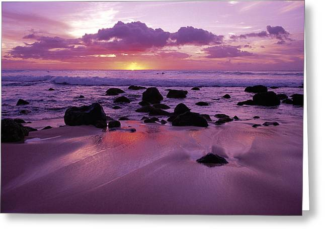 Amazing Sunset Greeting Cards - Molokai West Shore Sunset Greeting Card by Ron Dahlquist - Printscapes