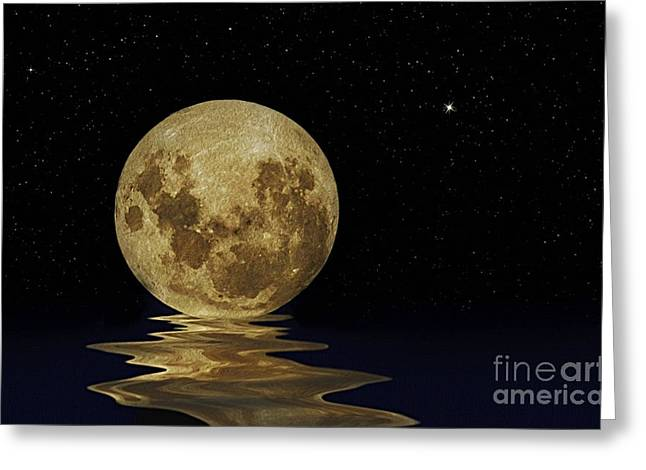 Reflection In Water Digital Greeting Cards - Molten Moon Greeting Card by Kaye Menner