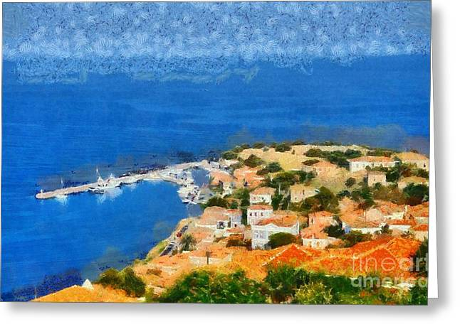 Journey Greeting Cards - Molyvos town Greeting Card by George Atsametakis