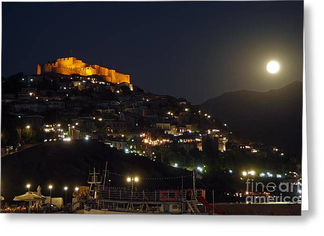 Journey Greeting Cards - Molyvos village under full moon Greeting Card by George Atsametakis