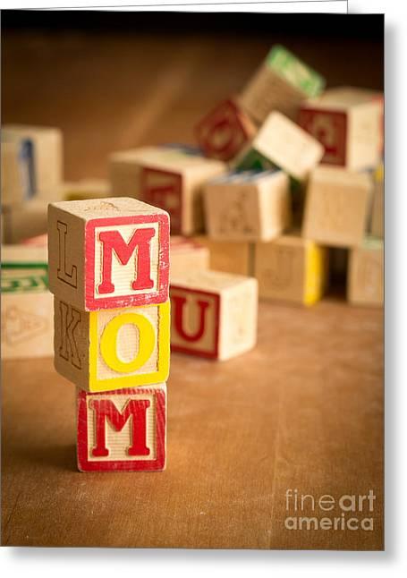 Spelling Greeting Cards - MOM Alphabet Blocks Greeting Card by Edward Fielding