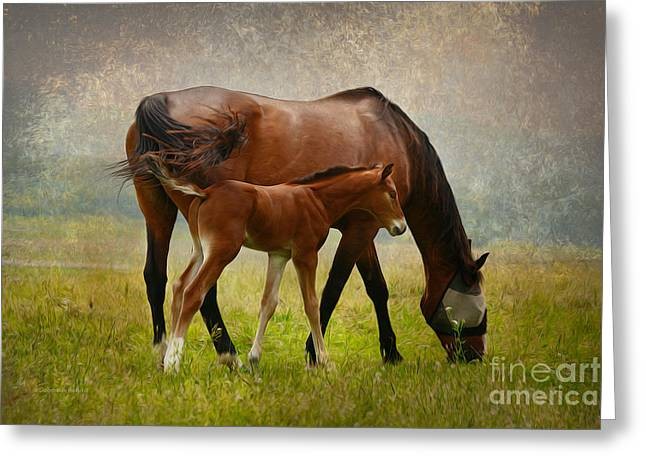 Swishes Greeting Cards - Mom and Baby Greeting Card by Deborah Benoit