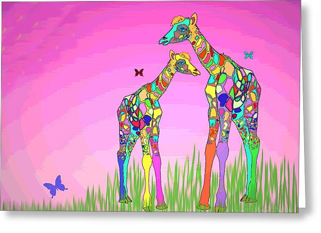 Spacial Greeting Cards - Mom and Baby Giraffe Unconditional Love Greeting Card by Joyce Dickens