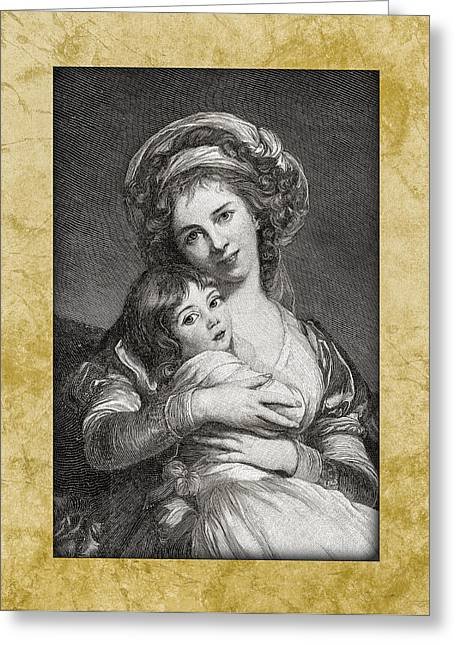 Painted Image Greeting Cards - Mom And Child Greeting Card by Benoit Beauregard