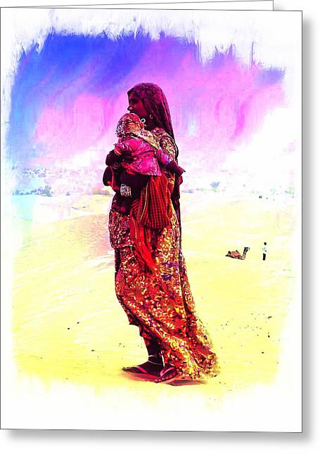 Shepherds Greeting Cards - Mom and Child Desert India Greeting Card by Sue Jacobi