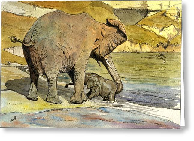 Tender Greeting Cards - Mom and cub elephants having a bath Greeting Card by Juan  Bosco
