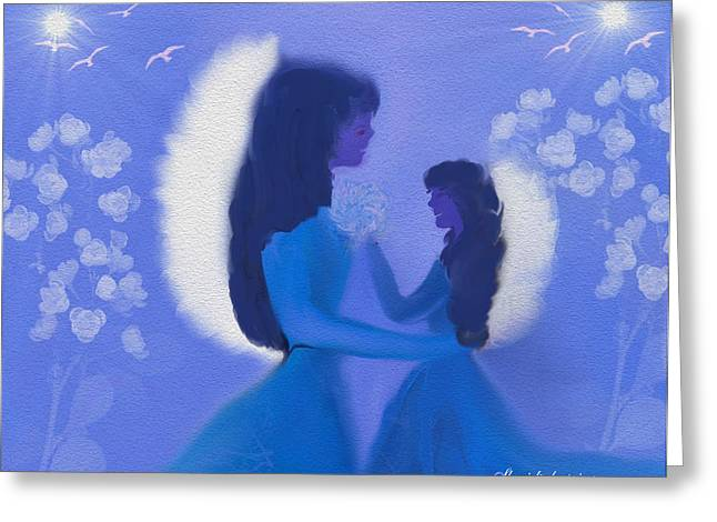 Daughter Gift Greeting Cards - Mom And Daughter Midnight Angels Greeting Card by Sherri  Of Palm Springs