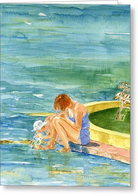 China Beach Greeting Cards - Mom and Daughter on China Beach Greeting Card by Deborah Carman