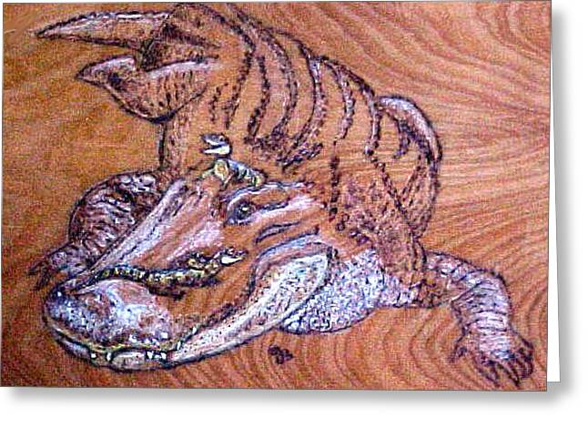 Reptiles Pyrography Greeting Cards - Mom Gator and Babies  Greeting Card by Jeanie Beline