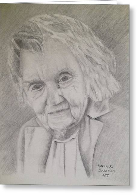 Gray Hair Drawings Greeting Cards - Mom  Greeting Card by Karen Brannon