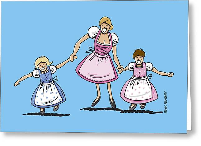 Ramspott Greeting Cards - Mom With Daughters Wearing Dirndl Greeting Card by Frank Ramspott