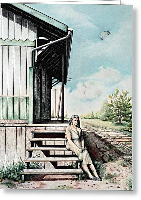 Wooden Building Drawings Greeting Cards - Mom with Rose Greeting Card by David Neace