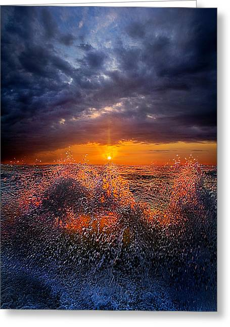 Blue Green Wave Greeting Cards - Moment of Discovery Greeting Card by Phil Koch