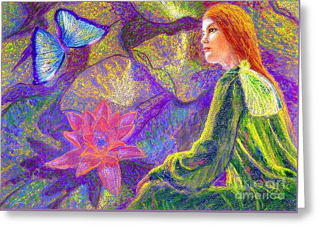 Contemplation Paintings Greeting Cards - Moment of Oneness Greeting Card by Jane Small