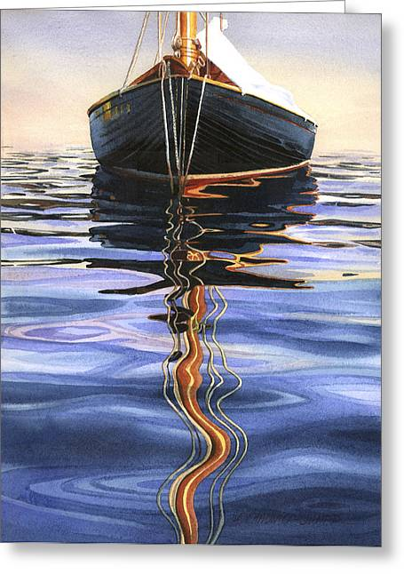 Moorings Greeting Cards - Moment of Reflection VI Greeting Card by Marguerite Chadwick-Juner