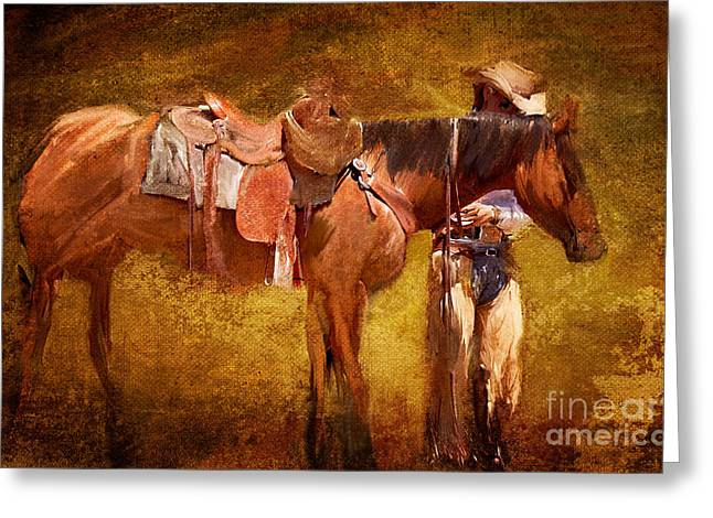 Quarter Horses Greeting Cards - Moment of Rest Greeting Card by Ozana Sturgeon