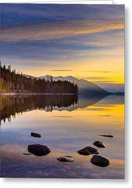 West Glacier Greeting Cards - Moment of Tranquility Greeting Card by Adam Mateo Fierro